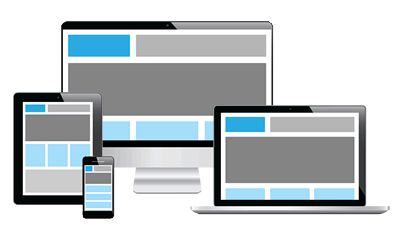 Responsive design shown on different devices and screen sizes